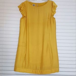 Annne Klein Mustard Dress Ruffle Short Sleeve12